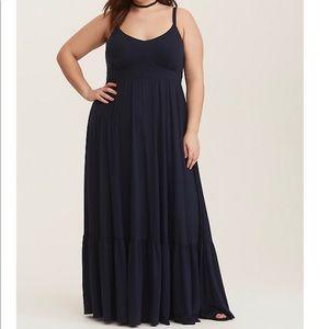 Torrid Navy Tiered Maxi Dress